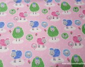 Flannel Fabric - Sheepies on Pink - By the yard - 100% Cotton Flannel
