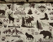 Flannel Fabric - Wildlife Adventure - By the yard - 100% Cotton Flannel