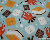 Flannel Fabric - Camp Smores - By the Yard - 100% Cotton Flannel