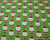 Christmas Flannel Fabric - Santa Claus Green - By the yard - 100% Cotton Flannel