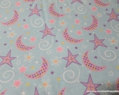 Flannel Fabric - Sweet Night Moon Light Blue - By the yard - 100% Cotton Flannel
