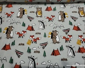 Flannel Fabric - Camping Animals Gray - By the yard - 100% Cotton Flannel