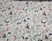Christmas Flannel Fabric - Forest Animals Doodled - By the yard - 100% Cotton Flannel