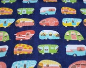 Flannel Fabric - Linear Campers - By the Yard - 100% Cotton Flannel