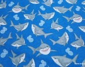 Flannel Fabric - Sharks and Bubbles on Blue - By the yard - 100% Cotton Flannel