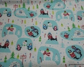 Christmas Flannel Fabric - Winter Animal Scenes - By the yard - 100% Cotton Flannel