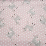 Flannel Fabric - Pink Dot Deer - By the yard - 100% Cotton Flannel