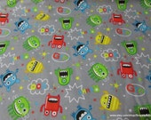 Flannel Fabric - Mayhem Monster Tossed - By the yard - 100% Cotton Flannel