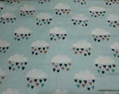 Flannel Fabric - Clouds and Hearts - By the yard - 100% Cotton Flannel