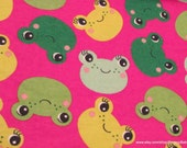 Flannel Fabric - Frog Heads - By the yard - 100% Cotton Flannel