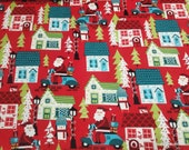 Christmas Flannel Fabric - Santa on Scooters - By the yard - 100% Cotton Flannel