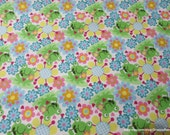 Flannel Fabric - Happy Froggie Floral - 1 yard - 100% Cotton Flannel