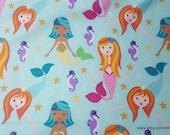 Flannel Fabric - Mermaid Fairy Tales Aqua Premium - By the yard - 100% Premium Cotton Flannel