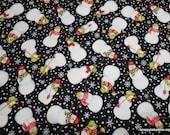Christmas Premium Flannel Fabric - Snow Bird Snowmen Tossed on Black Premium - By the yard - 100% Premium Cotton Flannel