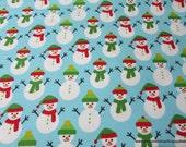 Christmas Flannel Fabric - Glacier Snowmen - By the yard - 100% Premium Cotton Flannel