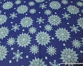 Christmas Flannel Fabric - Cutout Snow Blue - By the yard - 100% Cotton Flannel