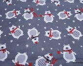 Christmas Flannel Fabric - Winter Bear with Scarf - By the yard - 100% Cotton Flannel