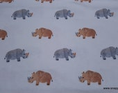 Flannel Fabric - Rhinos on White - By the Yard - 100% Cotton Flannel