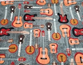 Flannel Fabric - Rustic Guitar - By the yard - 100% Cotton Flannel