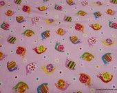 Flannel Fabric - Snails on Pink - By the Yard - 100% Cotton Flannel