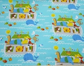 Flannel Fabric - Noah's Ark - By the yard - 100% Cotton Flannel