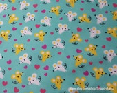 Flannel Fabric - Happy Mice and Hearts - By the yard - 100% Cotton Flannel