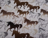 Flannel Fabric - Sketched Horses Running Tan - By the yard - 100% Cotton Flannel