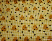 Flannel Fabric - Get Buzzy Bees and Beehive- By the yard - 100% Cotton Flannel