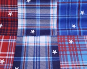 Flannel Fabric - Patriotic Madras Plaid - By the yard - 100% Cotton Flannel