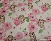 Flannel Fabric - Bunny and Rose - By the yard - 100% Cotton Flannel
