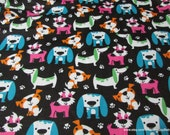 Flannel Fabric - Bright Dogs on Black - By the yard - 100% Cotton Flannel