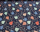 Flannel Fabric - Americana Kites - By the yard - 100% Cotton Flannel
