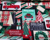 Christmas Flannel Fabric - Holiday Gathering Patchwork - By the Yard - 100% Cotton Flannel