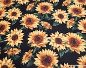 Flannel Fabric - Sketched Sunflowers on Black - By the yard - 100% Cotton Flannel