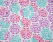 Flannel Fabric - Tribal Owl Stamp - By the yard - 100% Cotton Flannel