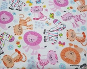 Flannel Fabric - Baby Zoo White - By the yard - 100% Cotton Flannel