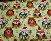 Christmas Flannel Fabric - Christmas Woodland - By the yard - 100% Cotton Flannel