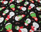 Christmas Flannel Fabric - Snowmen on Black Premium Flannel - By the yard - 100% Cotton Flannel