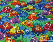 Flannel Fabric - Clown Fish Multi Premium Flannel - By the yard - 100% Cotton Flannel