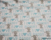 Flannel Fabric - I Love Mommy Daddy Blue with Elephant - By the yard - 100% Cotton Flannel