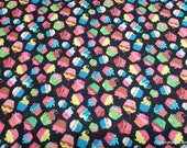 Flannel Fabric - Cupcakes on Black - By the yard - 100% Cotton Flannel