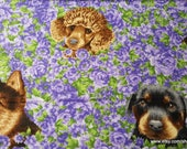 Flannel Fabric - Dogs on Floral - By the yard - 100% Cotton Flannel