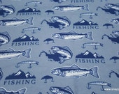 Flannel Fabric - Classic Fishing - By the yard - 100% Cotton Flannel