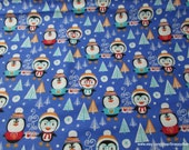 Christmas Flannel Fabric - Toasty Penguins - By the yard - 100% Cotton Flannel