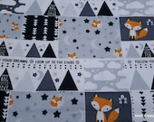 Flannel Fabric - Fox Patchwork - By the yard - 100% Cotton Flannel