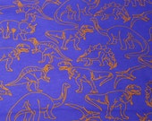 Flannel Fabric - Orange Outline Dinos - By the yard - 100% Cotton Flannel