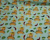 Flannel Fabric - Taco Doggie - By the yard - 100% Cotton Flannel