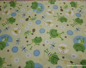 Flannel Fabric - Sweet Frogs, Turtles and Dragonflies - By the yard - 100% Cotton Flannel