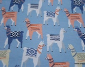 Flannel Fabric - Tribal Llamas - By the yard - 100% Cotton Flannel