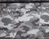 Flannel Fabric - Gray Black Camo - By the yard - 100% Cotton Flannel